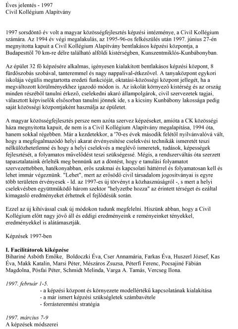 CKA éves jelentés 1997.
