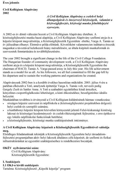 CKA éves jelentés 2002.