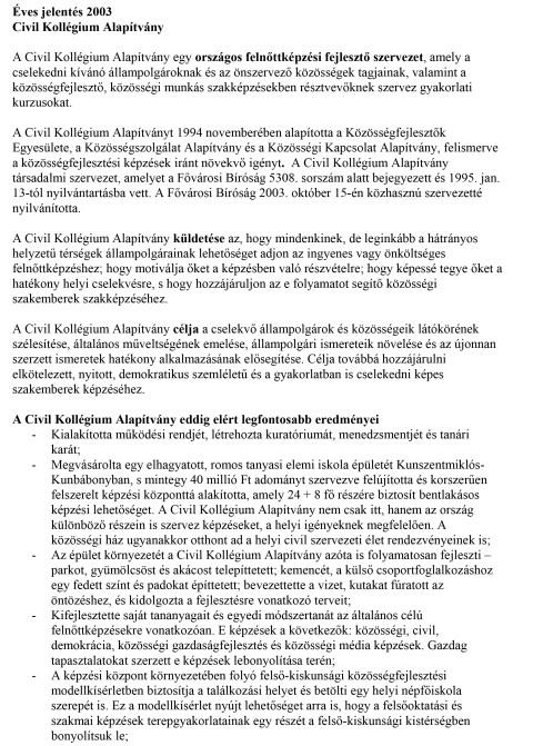 CKA éves jelentés 2003.