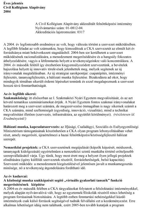 CKA éves jelentés 2004.