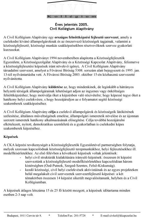 CKA éves jelentés 2005.