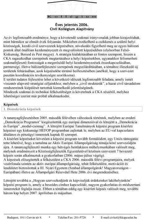 CKA éves jelentés 2006.