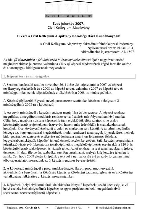 CKA éves jelentés 2007.