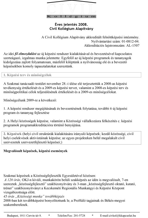 CKA éves jelentés 2008.
