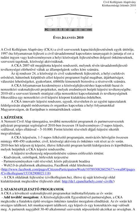 CKA éves jelentés 2010.