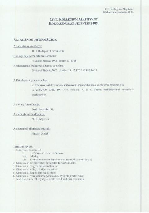 CKA éves jelentés 2009.